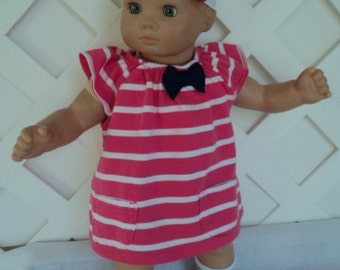 Bitty Baby Girl cute 3 pc. Pink  striped  dress with  Socks and a headband     doll clothes