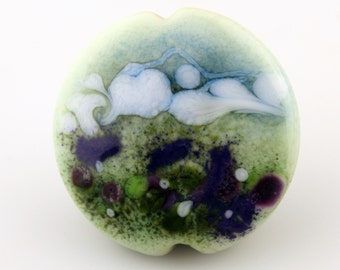Lampwork Bead Glass Lentil Focal Watercolor Floral Green and Blue with Purple Flowers 'Wildflower Meadow'