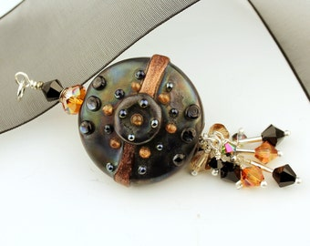 Lampwork Glass Bead Pendant, Steampunk Metallic Black and Topaz Sterling Silver with Swarovski Crystals