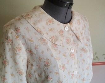 80s vintage top, 80s vintage jacket, floral jacket, tiny floral print, shoulder pads, beige vintage jacket, 80s costume