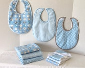 Baby Boy 9 Piece Gift Set Receiving Baby Blue  Gray Dots and Elephants Blankets Bibs and Burp Cloths Lightweight Flannel