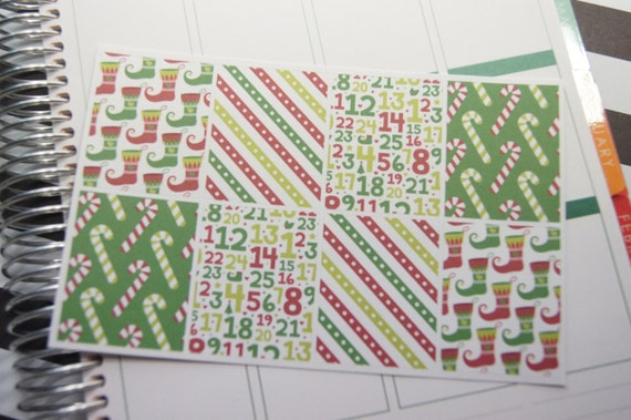 8 Christmas Planner Stickers December Squares Full Box Horizontal Vertical Plum PS305a eclp Fits Erin Condren Planners