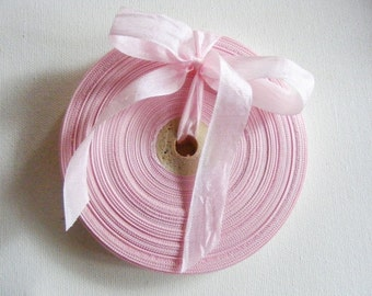 Vintage French 1930's-40's Woven Ribbon -Milliners Stock- 5/8 inch Ash Pink