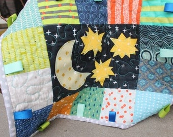 Small Quilt: Moon & Stars (green and orange)