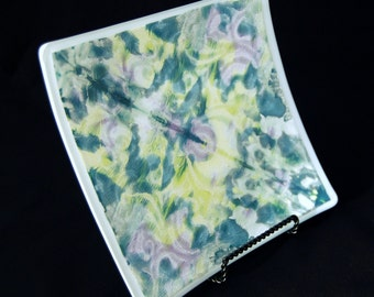 Teal, purple, and yellow Ink Blot platter