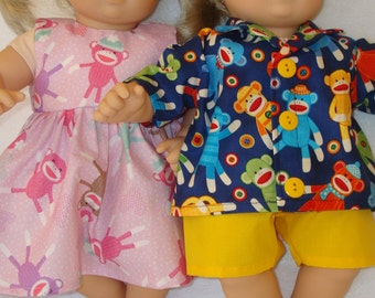 """15 Inch Doll Clothes/Monkey Business/Dress, Shirt, and Shorts/Made to fit 15"""" Bitty Baby Twins Dolls/READY TO SHIP"""