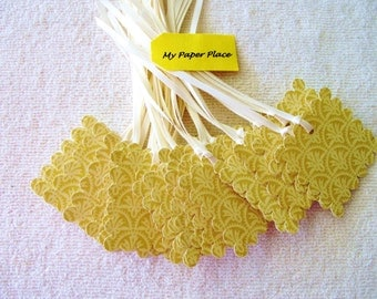 Gold Scalloped Patterned Gift Tags -  2 In.  Scalloped Square-Prestrung w/Satin Ribbons
