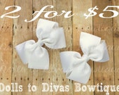 White Boutique Hair Bow Pigtail, Flat Hair Bow Style, Solid Color Hairbows, 2 pc Set, 4 inch bows for girls, Baby Bow, Toddler Hair Bows