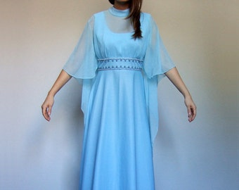 Baby Blue Dress 70s Cape Gown Maxi Party 1970s Vintage Long Beaded Gown - Medium M