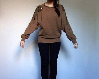 Brown Beaded Sweater Oversized Fall Knit Wool Blend Raglan Sleeve Cosy Winter Top - Small Medium Large S M L