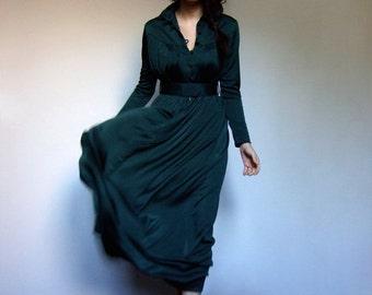 Green Long Sleeve Maxi Dress Vintage 70 Simple Long Floor Length Day Dress - Extra Small XXS XS