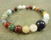Multi-Gemstone and Memory Wire Cuff Bracelet Blue Goldstone Agate Jasper