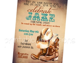 Cowboy Birthday Party Invitation, Western Party Invitation, Western Cowboy Digital Download