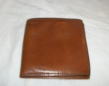 Vintage 1960s Brown Leather Wallet Mens Nicely Broken In Amity