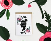 Silhouette of a woman's face with florals card  - I love you - woman with flowers - Mother's day - Happy Mother's Day - silhouette card