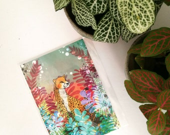 Cheetah Postcard - Gift for Animal Lovers - Tropical Safari Artwork - Cheetah Artwork - Small Gift - Present Idea