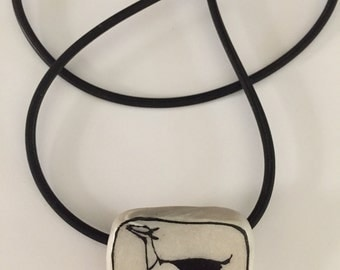 Dairy Goat Jewelry: The Cou Blanc Small Pendant with Rubber Cord. India Ink Drawing on Polymer Clay. White, Black 4225