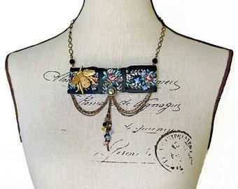 Steampunk Bowtie Necklace Signed DeNicola Bumblebee Pin Swarovski Crystal Butterflies Vintaj Brass Chains Vintage Button Victorian OOAK