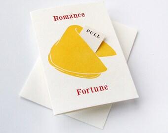 Letterpress love and romance card- Fortune Cookie - Romance Kisses