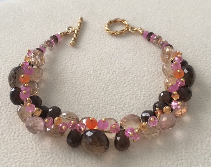 Pink and Orange Padparadscha Sapphire Gemstone Bracelet in Gold Vermeil with Smoky Quartz, Mystic Champagne Quartz, Mystic Pink Topaz