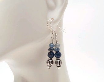 Blue Sapphire with Sterling Silver Beaded Earrings,  September Birthstone Earrings, Blue Sapphire Earrings, Faceted Sapphire