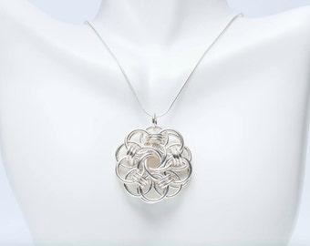 Sterling Silver Chainmail Pendant - Silver Mandala Pendant - Helm Pendant - Infinity Knot Pendant - Sterling Silver Jewelry - Chainmaille