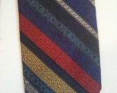 SALE 70s polyester tie cocktail rainbow stripe grunge punk textured