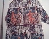 SALE SALE 90s silk shirt football shirt design print pattern XL newsprint photo print medium 48