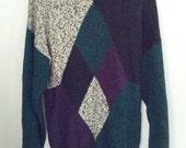 SALE Stefano Man argyle jumper sweater Large boho grunge 80s eighties