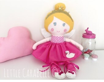 Rag doll Dolly Custom Fairy Princess Handmade Doll with Glitter Swan skirt, Removable Fairy wings. CE marked Perfect for playtime