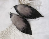 Beautiful Black Leather Real Mink Feather Style Earrings