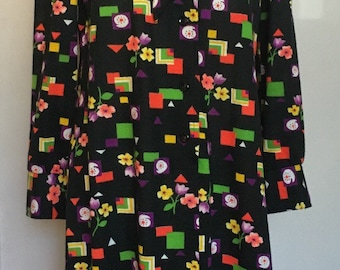 Vintage Christopher Street fashions ltd. graphic allover print tie neck dress