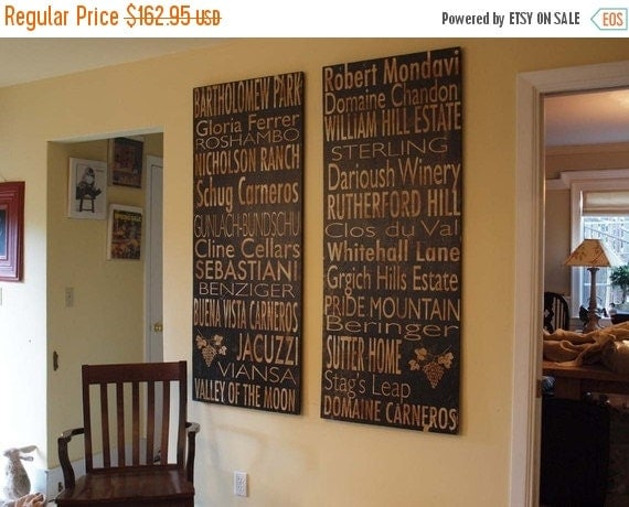 JULY SALE Winery Board - Napa Valley OR Sonoma Valley Or Custom - Salvaged Wood - 24x60 - Bus Roll Inspired - RuPiper Designs Original