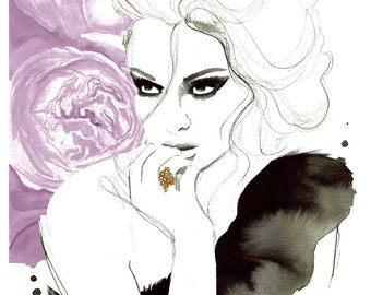 Ravishing, print from original watercolor and pen fashion illustration by Jessica Durrant