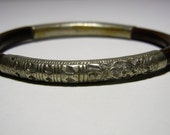 Antique Chinese Silver Bracelet Wood Bangle Bamboo Rattan Vintage Export