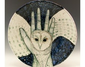 Hooter Hand - Original Painting - One of a Kind Jenny Mendes Painting on a Ceramic Plate