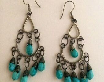 Vintage Retro Hippie Boho Bohemian Turquoise blue Chandelier Dangly earrings 70s 80s