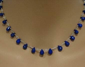 Lapis Teardrop Briolette Necklace in Sterling Silver