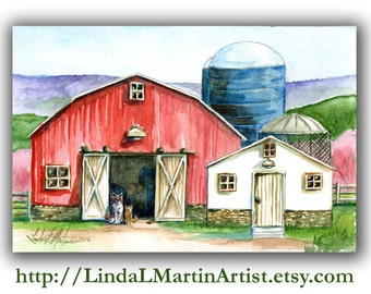 Nursery, Baby, Child, New Mom, Red Barn Farm Original Watercolor Painting Dog Cat LLMartin