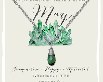 May Birthstone - May Birthstone Necklace - May Jewelry - Birthstone Necklace - Birthstone Jewelry - Swarovski Necklace