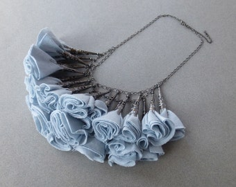 Pale Blue and Gunmetal Fabric Rosette Statement Necklace