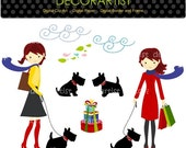 80%OFF _ Girls Clip Art, Instant Download, Girl and Scottish Terrier, French style, Shopping, Download Print JPG & Png, On sale