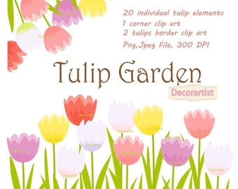 ON SALE Flowers clipart, Tulip garden clipart, tulips clipart, flower clipart, flowers border clip art, INSTANT Download