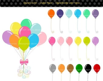 ON SALE balloon clipart ,kids party Balloons, digital clipart ,baby balloons clipart, INSTANT Download