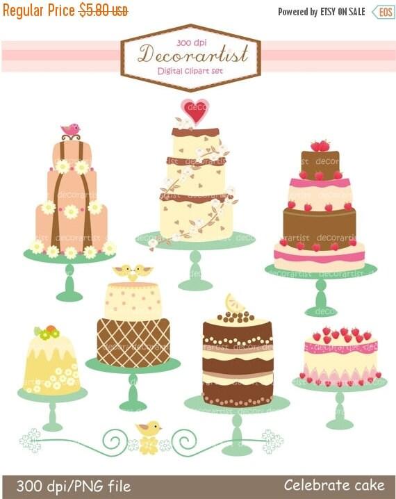 ON SALE clip art,Digital clip art, cake clip art, tea party, celebrated cakes 2 Pink , INSTANT Download
