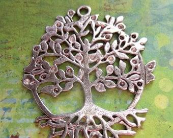 4 Antiqued silver tree pendants tree of life pendants tree charms 50mm x 46mm R790