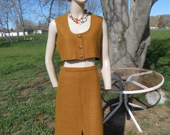 2-Piece 70's Skirt/Vest Outfit - Size M