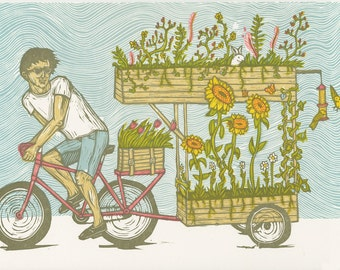 Bicycle Garden Woodcut Print