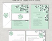 Mint Wedding Invitations, White Flowers Belly Band, Monogram