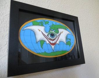 Joker Bat Framed Print of Conspiracy Art by Kelly Green HBaum